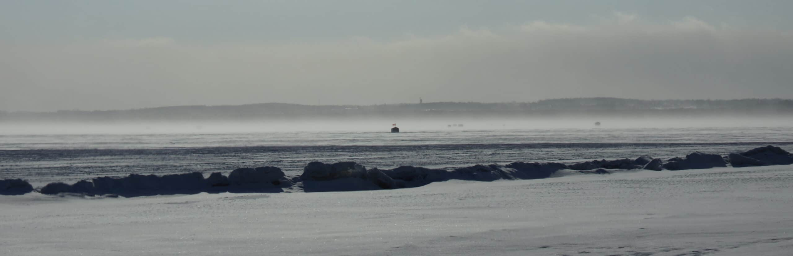 Ice Fishing on Lake Simcoe, Ontario, Canada
