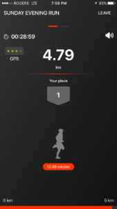 IMG: RaceRunner App during a race (IOS)