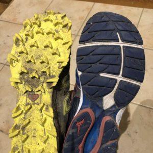 Compare: Trail Shoe (Solomon SpeedTrax) vs Road Running Shoe (Mizuno WaveRider).  A bit different tread pattern.
