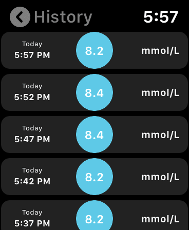 iOS Watch version of the LinkBluCon App (Hisory of Readings)